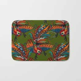 rooster ink green Bath Mat