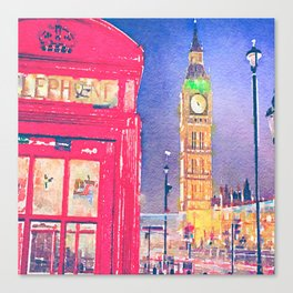 Big Ben and Red Telephone Box in London Watercolor  Canvas Print