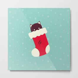 Kitty in Stocking Metal Print