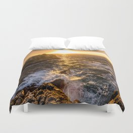 In Waves - Waves Crashing Into Rocks at Sunset In Big Sur Duvet Cover