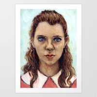 karu kara Art Prints featuring Suzy - Moonrise Kingdom - Kara Hayward by Heather Buchanan