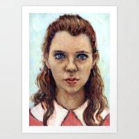 karu kara Art Prints featuring Suzy - Moonrise Kingdom - Kara Hayward by Heather Buchanan