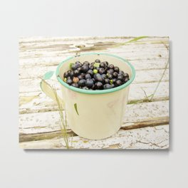 Blueberries in enamel mug by poppyshome Metal Print