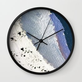 Delicate: a simple, elegant abstract piece in blues, black and white Wall Clock