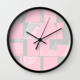 Blush and Gray Typographical Fragments Cheater Quilt Wall Clock