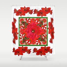 RED AMARYLLIS FLOWERS & HOLIDAY CANDY CANE FLORAL ART Shower Curtain