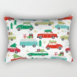 Christmas holiday vintage cars classic festive christmas tree snowflakes winter season Rectangular Pillow