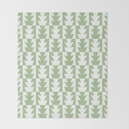 Art Deco Jagged Edge Pattern Sage Green Throw Blanket