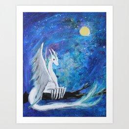 White Sky Dragon Art Print