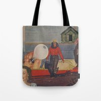 fishing Tote Bags featuring Fishing by Jon Duci
