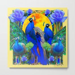 BLUE GREEN PEACOCK YELLOW BLUE ROSE FLORAL PATTERN Metal Print
