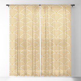 Japanese Waves (White & Orange Pattern) Sheer Curtain