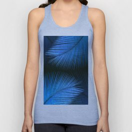 Palm leaf synchronicity - metallic blue Unisex Tank Top