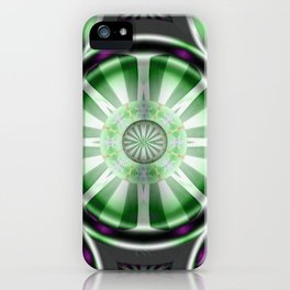Pinwheel Hubcap in Green iPhone Case