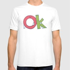 Ok White Mens Fitted Tee SMALL