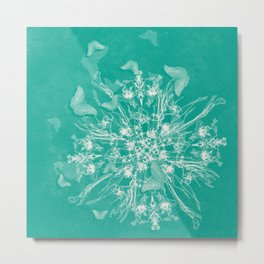 ghost bouquet and butterflies  on teal Metal Print