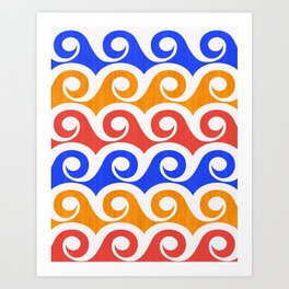 Abstract Waves ~ Pop Art Palette Art Print
