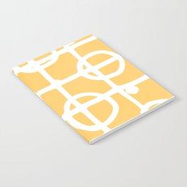Yellow White Circle Squares Notebook
