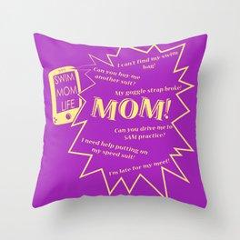 Swim Mom Smartphone PURPLE/GOLD Throw Pillow