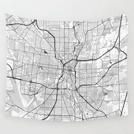 San Antonio Map Gray Wall Tapestry
