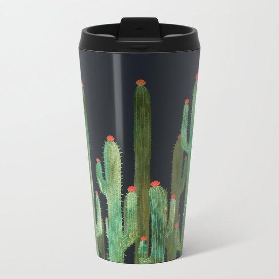 Cactus Four at night Metal Travel Mug