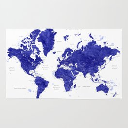"""Navy blue watercolor world map with cities, """"Ronnie"""" Rug"""