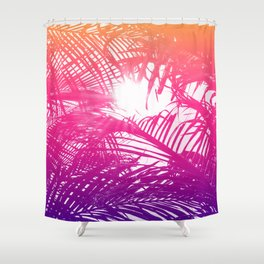 Tropical Orange Pink and Purple Palm Fronds Shower Curtain
