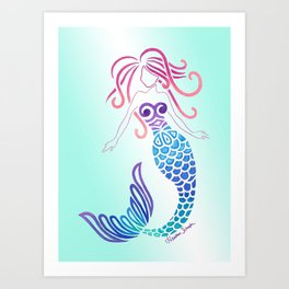 Tribal Mermaid with Ombre Turquoise Background Art Print
