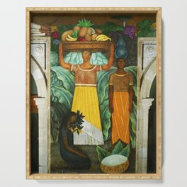 Tehuana Women Bringing Fruit to Market by Diego Rivera Serving Tray