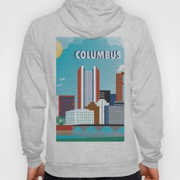 Columbus, Ohio - Skyline Illustration by Loose Petals Hoody