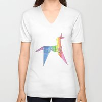 blade runner V-neck T-shirts featuring Origami Unicorn - Blade Runner by NorthLight
