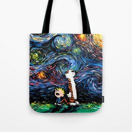 Calvin and Hobbes Vincent van Gogh Starry Night Painting Tote Bag