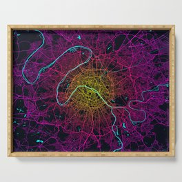 Paris City Map of France - Neon Serving Tray
