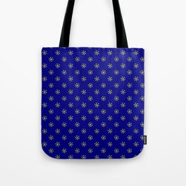 Electric Yellow on Navy Blue Snowflakes Tote Bag