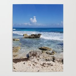 Rocky Beach, Cancun Mexico Isla Mujeres Carribean Clouds Blue Waves Poster