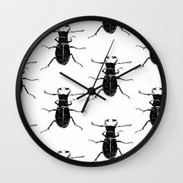MINIMAL + MONOCHROME BEETLE PATTERN Wall Clock