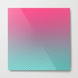 Hot Pink & Neon Blue Ombre Wave Pattern Metal Print