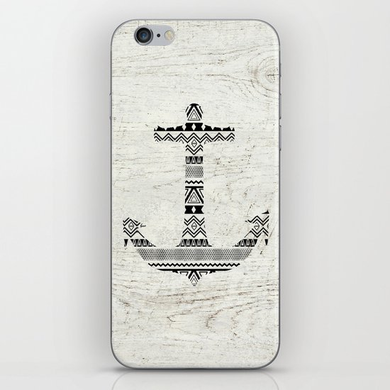 Aztec Nautical Anchor Black White Vintage Wood iPhone & iPod Skin