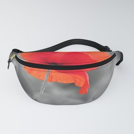 Poppy black and white photography with red splashes of color Fanny Pack