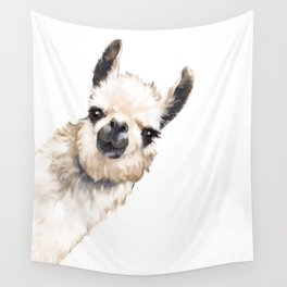 Sneaky Llama White Wall Tapestry