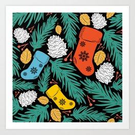 Christmas Stocking Ornaments on Tree Pattern Art Print