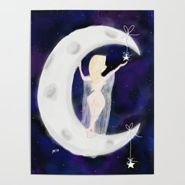 Crescent Moon Lady Poster