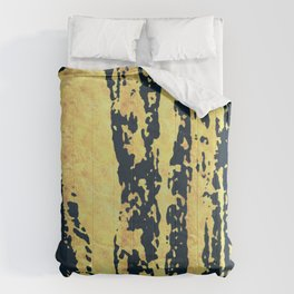 Conquer: a bold, pretty abstract piece in gold and midnight blue Comforters
