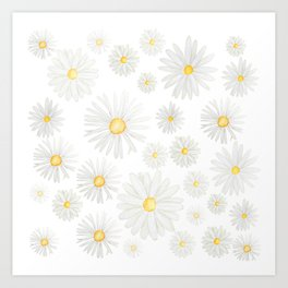 white daisy pattern watercolor Art Print