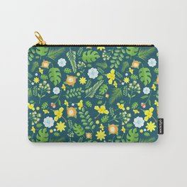 Modern navy blue tropical sunshine yellow green floral Carry-All Pouch