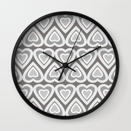 Summer Time Love Hearts in Gray Tones Wall Clock