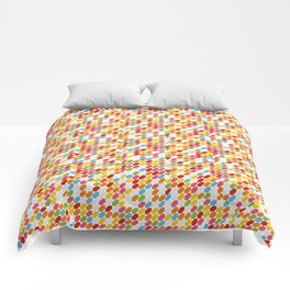 Rainbow gems geometric pattern, hexagon abstract colorful diamonds Comforters