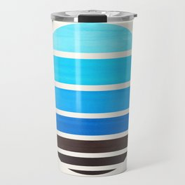 Cerulean Blue Minimalist Mid Century Modern Watercolor Stripes Sunset Circle Abstract Pattern Travel Mug
