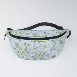 Watercolor Plumbago Flowers on Maidenhair Ferns Fanny Pack