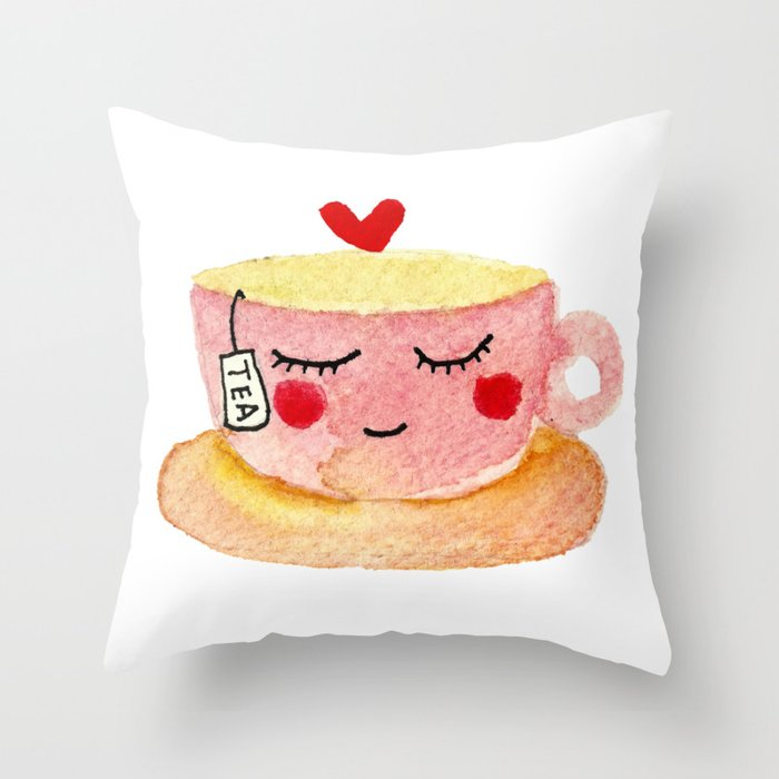 You are my cup of tea - watercolor doodles Throw Pillow